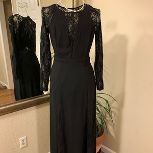 EXPRESS Long Dress Long Sleeve Size 4 Black (Lace)
